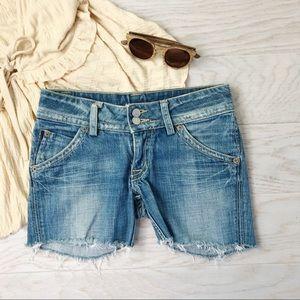 Hudson Jeans / Mid Rise Frayed Hem Stone Wash 26